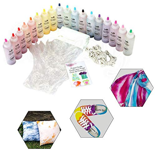 Voyoo Tie Dye Kits for Clothes Kit Clothing Craft Tye Die Kids Tulip Fabric Paint-18-color Dye Kit Cold -Water Stain Cotton Renovation