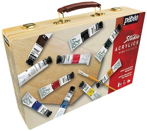 Pebeo Studio Acrylic Wooden Starter Set, Multi-Colour by Pebeo