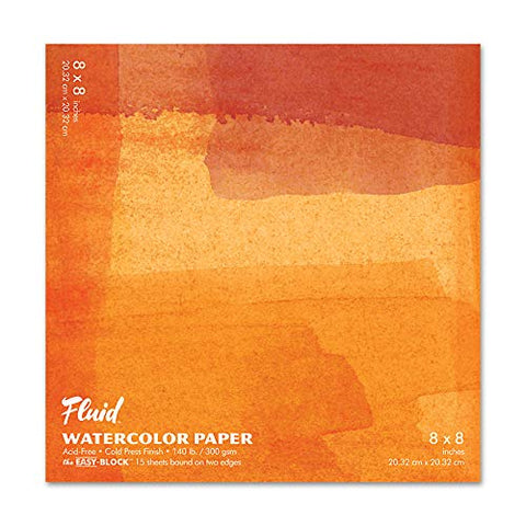 Speedball Fluid Artist Watercolor Paper Block, Cold Press, 8x8, White