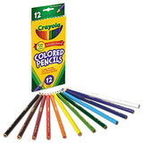 Crayola 684012 Long Barrel Colored Woodcase Pencils, 3.3 mm, 12 Assorted Colors/Set