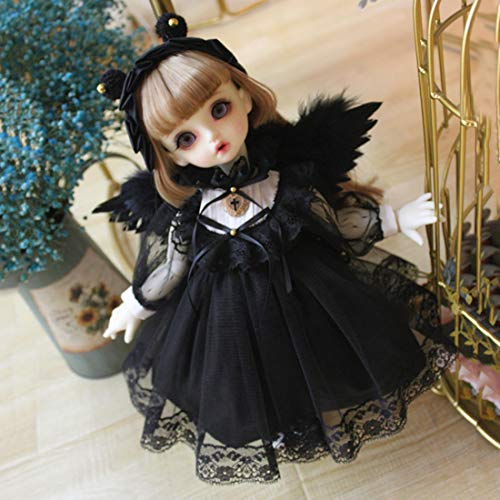 XSHION BJD Doll Girl Clothes, Doll Black Angel Dress 3Pcs Clothes Set for 1/6 BJD Doll Dress Up Clothing Pretend Play Toy