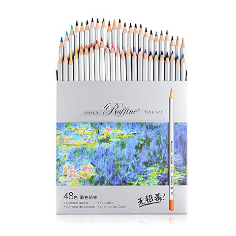 Marco Raffine Fine 48 Colors Art Drawing Pencil 7100-48CB Set Non-toxic ASTM Tin Wooden Painting