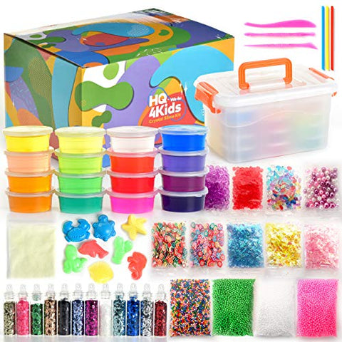 HQ 4KIDS BY: WE 4U : Slime Kit for Boys & Girls: Make Slime Kits with Glow in The Dark Crystal Slimes Glitter Making Pack & More. Powder Bags, Water Beads in Packs, Storage Box & Gift Box.Kids Ages 5+