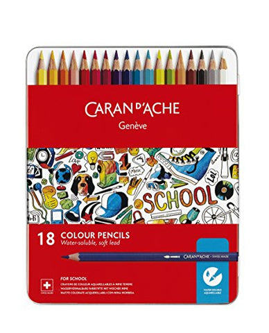 Caran d'Ache School Line 18 Water-soluble Color Pencils in Tin Case