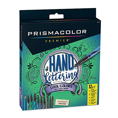 Prismacolor Premier Hand Lettering Set, Assorted Cool Colors, Art Markers, Graphite Pencil, Eraser, 12 Count