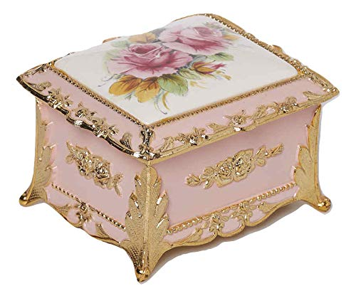 Classic Floral Rectangular Shaped Musical Jewelry Box playing Unforgettable
