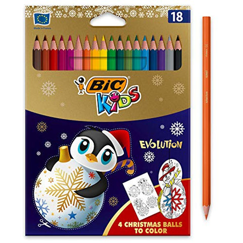 BIC Kids Evolution ECOlutions Colouring Pencils, Christmas Edition - Assorted Colours, Pack of 18