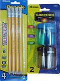 The First Jumbo Premium Yellow Pencil with Dual Blades Sharpener. 1 Set of Pencils (4 Pcs) and