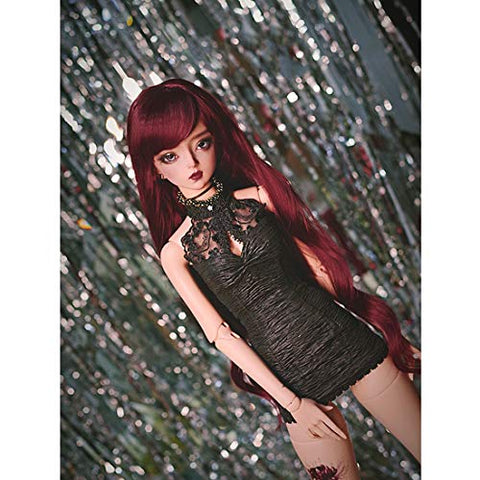 HMANE BJD Doll Wig, Wavy Curly Wig with Bang for 1/4 BJD Dolls - (Claret) (No Doll)