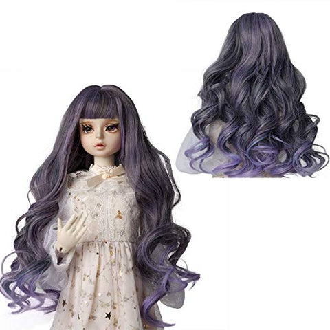 MUZIWIG 1/3 BJD SD Doll Hair Wig Girl Gift Heat Resistant Fiber Long Wave Doll Wig for 1/3 SD BJD Doll (01)