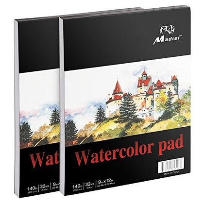 Madisi Watercolor Paper Pad, 9 X 12, 32 Sheets, 140lb (Pack of 2 Pads)