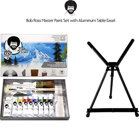 Bob Ross Master Artist Oil Paint Set Bundle with Aluminum Table Easel (2 Items)