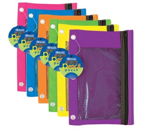 Bazic 804 3 Ring Pencil Pouch with Mesh Window, 6 pcs