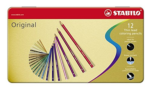 Stabilo 8773-6 Original Thin Lead Coloured Pencil 2.3 mm Assorted Colours Pack of 12