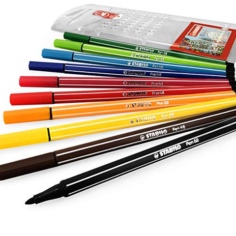 STABILO Pen 68 Fibre Tip Fineliner - 1mm - Pack of 10 - Assorted Colours