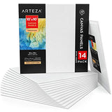 Arteza Canvas Panels 10x10 Inch, White Blank Pack of 14, 100% Cotton, 12.3 oz Primed, 7 oz Unprimed, Acid-Free, for Acrylic & Oil Painting, Professional Artists, Hobby Painters & Beginners