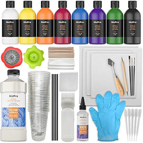 Nicpro 115 Pack Acrylic Pouring Art Supplies, Pouring Medium Starter Kit, 8 Colors 8 oz Acrylic Paints with Pour Oil, 4 Pack Canvases, Cups, Mixing Sticks, Gloves, Strainers, Brushes, Dotting Pen for