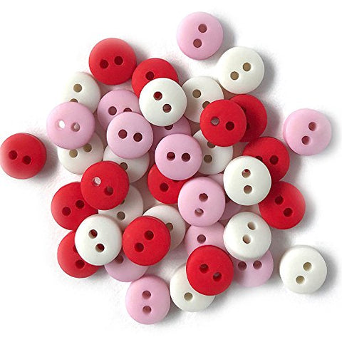Tiny Buttons For Sewing, Doll Making and Crafts (Sweetheart) - 3 Packs - 120 Buttons