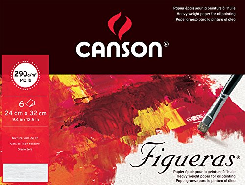 Canson Pack Fine Arts 400056375 Oil Figueras Paper 290 g of 6 Sheets Grain Canvas 24 x 32 cm Natural White