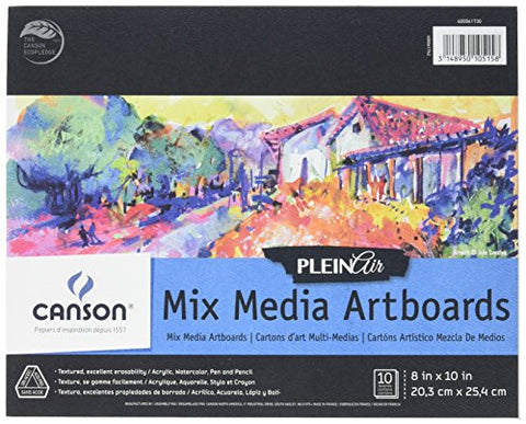 Canson Plein Air Mix Media Art Board Pad for Watercolor, Acrylic, Pens and Pencils, 8 x 10 Inch,