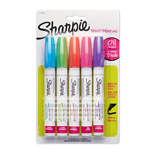 Sharpie Oil-Based Paint Markers, Medium Point, Bright Colors, 5 Count - Great for Rock Painting