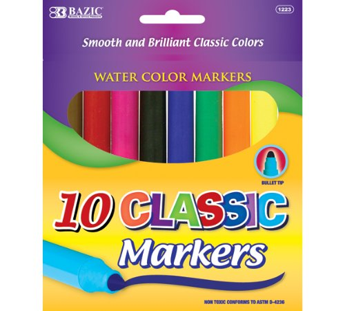 BAZIC 10 Classic Colors Broad Line Jumbo Watercolor Markers