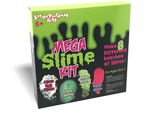 Smoothfoam Kids - Mega Slime Kit - Make Glow Slime - Neon Slime - Crunchy Slime - Alien Slime - Great STEM Product For Science Fairs And Projects