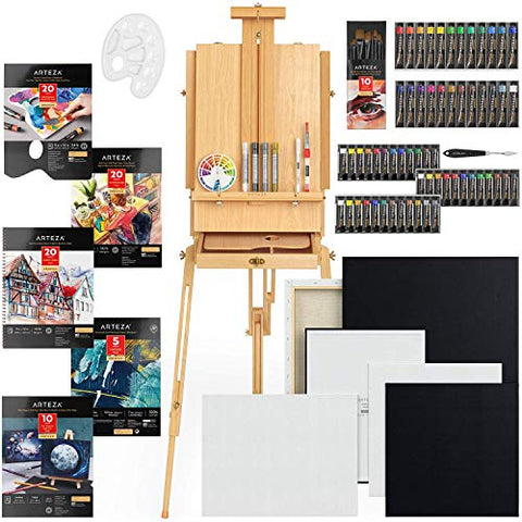 Arteza Mixed Media Art Set, Portable Artist Painting Kit Includes Art Paint, Canvases, Paper Pads, Brushes, and More, Easel Painting Set for Artists, Kids, Teens & Adults