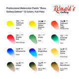 Ronalds Gallery, Professional Watercolor Paint, Set of 12, Full Pan, Made in Europe. Vibrant Colors, Perfect for Artists and Art Painting, Ideal for Watercolor Techniques. Rosa Edition