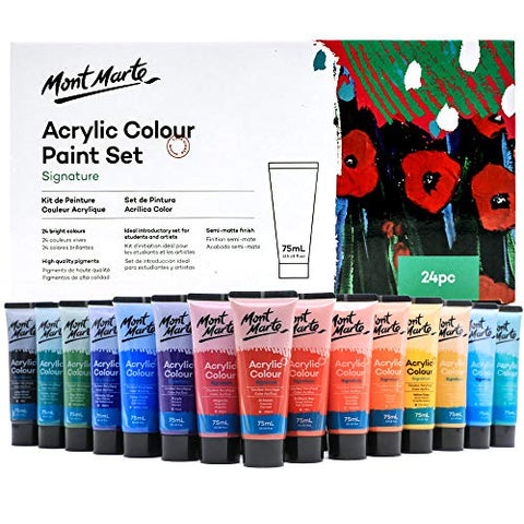 Mont Marte Signature Acrylic Color Paint Set, 24 x 2.5oz (75ml), Semi-Matte Finish, 24 Colors, Suitable for Most Surfaces Including Canvas, Card, Paper and Wood