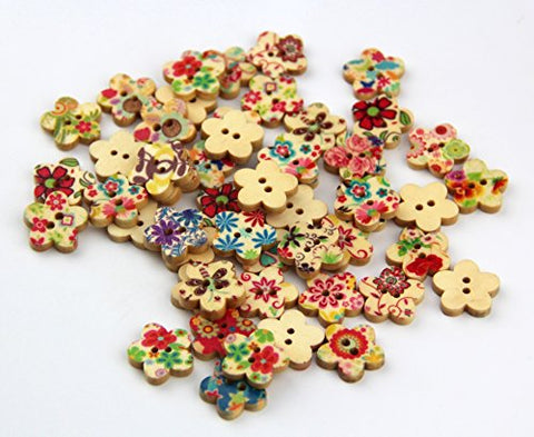 RayLineDo Mixed Flower Printed Flower Shaped Wooden Buttons Crafting Sewing DIY 2 Holes