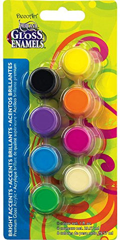 DecoArt Americana 8-Pot Gloss Enamel Paint Set, Bright Accents