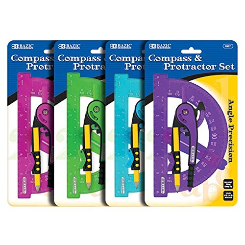 "4 Pk, Scale-Arm Compass W/ #2 Wood Pencil & 6"" Protractor Set (Colors may vary)"