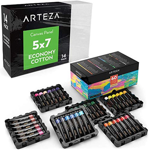 "ARTEZA Bundle: 5x7"" Bulk Pack of 100% Economy Cotton Canvas Panels, Set of 14 and Acrylic Paint, Set of 60 Assorted Colors, Ideal for High Volume Users, Art Classes, and Practice Studies"