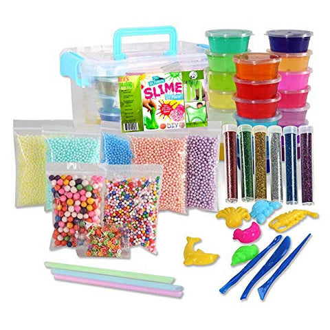 RTS Slime kit for Kids - 45 Pack for Making Cristal DIY Slime - 20 Colors Slime, 7 Bags Pastel Color Foam Ball and Slime Accessories in a Plastic Container.