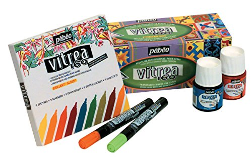 Pebeo Vitrea 160 Glossy Non-Toxic Water Based Marker Set, Assorted Colors, Set of 9