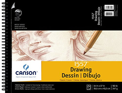 Canson Artist Series 1557 Cream Drawing Paper Pad for Pen, Ink and Graphite Pencil, Top Wire Bound,