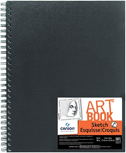 Canson Artist Series Sketch Book Paper Pad, for Pencil and Charcoal, Acid Free, Side Wire Bound, 65 Pound, 11 x 14 Inch, 80 Sheets