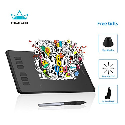 Huion Inspiroy H640P Graphics Drawing Tablet Digital Pen Tablet Battery-Free Stylus with 8192