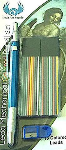Leda Mechanical Colored Pencil set with two cases of colored lead and sharpener for drawing and