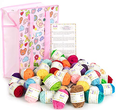 Mira Handcrafts 60 Yarn Skeins for Knitting and Crochet – Total of 1312 Yards (1200 m) Acrylic Yarn in Assorted Colors – Stylish Yarn Bag Included – Starter Kit