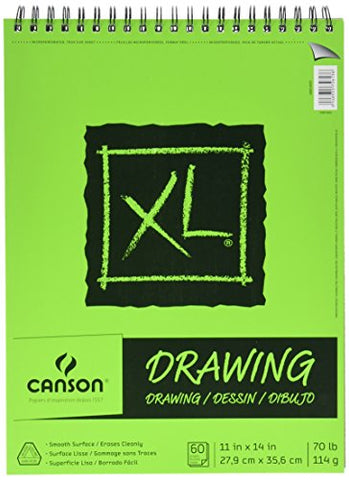 Canson XL Series Drawing Paper Pad, Micro Perforated, Smooth Surface, Side Wire Bound, 70 Pound, 18