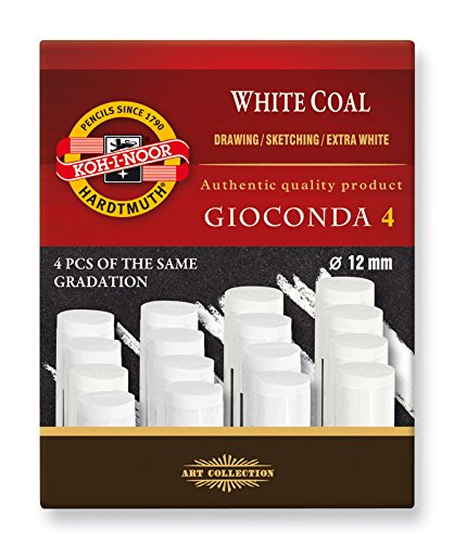 Koh-I-Noor Hardtmuth Gioconda Set of Extra Artifical White Charcoal (Gradations Extra Soft), 4pcs