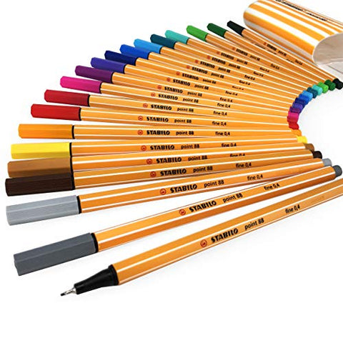 STABILO Point 88 Fineliner - 0.4mm Line - Zebrui Set - Assorted Wallet of 20 Colours