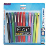 Flair Felt Tip Marker Pen, Assorted Ink, Medium, Dozen, Sold as 12 Each