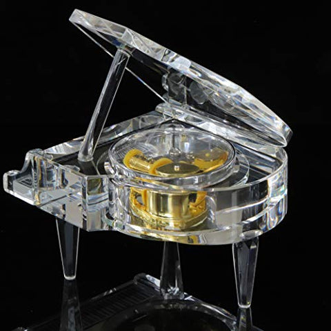 Mini Crystal Music Box Piano Shape Mechanical with Melody Castle in The Sky, Piano Music Box for Home and Office Decoration, Musical Gift for Birthday Christmas