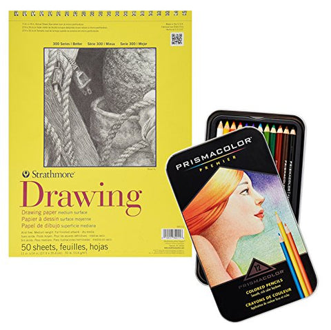 Strathmore 300 Series Drawing Paper and Prismacolor Premier Colored Pencils, 12-Count