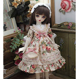 HMANE BJD Clothes 1/6, Pink Floral Printed Dress for 1/6 BJD Dolls (No Doll)