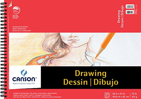Canson Foundation Drawing Paper Pad with Micro-Perforated Sheets and Fine Texture, Side Wire Bound,