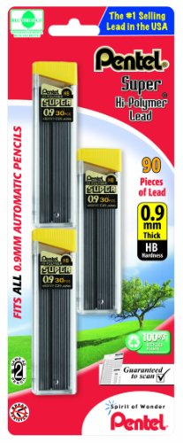 Pentel Super Hi-Polymer Lead Refills, 0.9 mm, 90 Pieces (C29BPHB3)